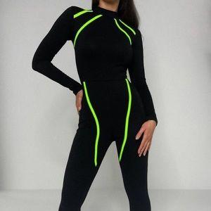 Neon stripe brand new jumpsuit